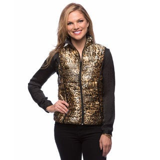 Live A Little Women's Gold Reversible Puffy Vest