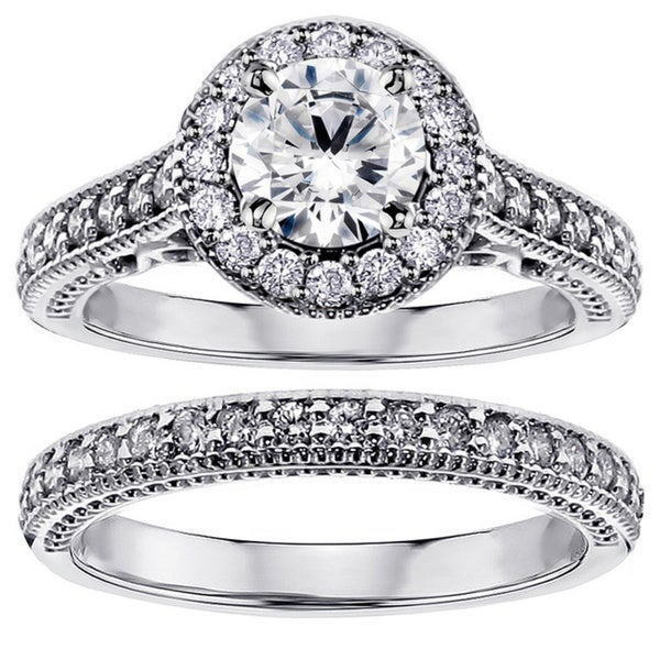 14k White Gold 1 3/4ct TDW White Diamond Halo Engagement Bridal Ring Set (F-G, SI1-SI2)