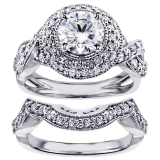 14k White Gold or Platinum 2 1/2ct TDW Pave Set Diamond Bridal Set (F-G, SI1-SI2)