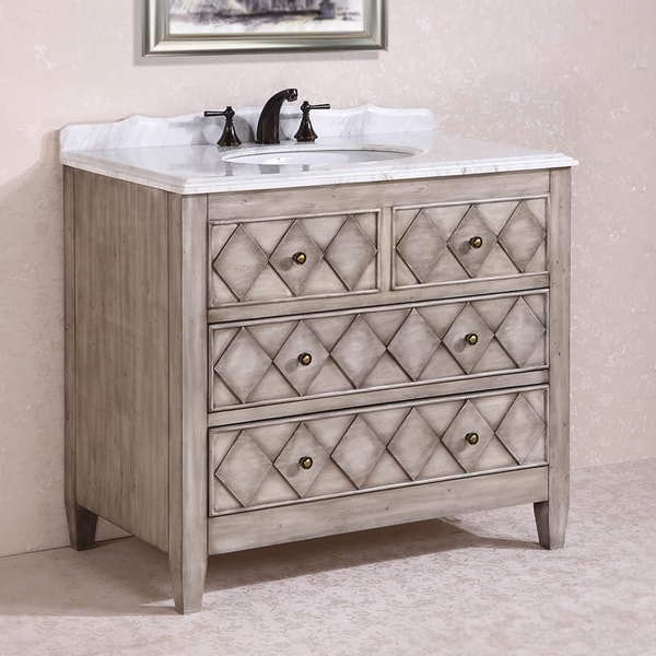 Legion Furniture Volakas Antique Light Grey White Marble Top 40-inch Single Sink Bathroom Vanity