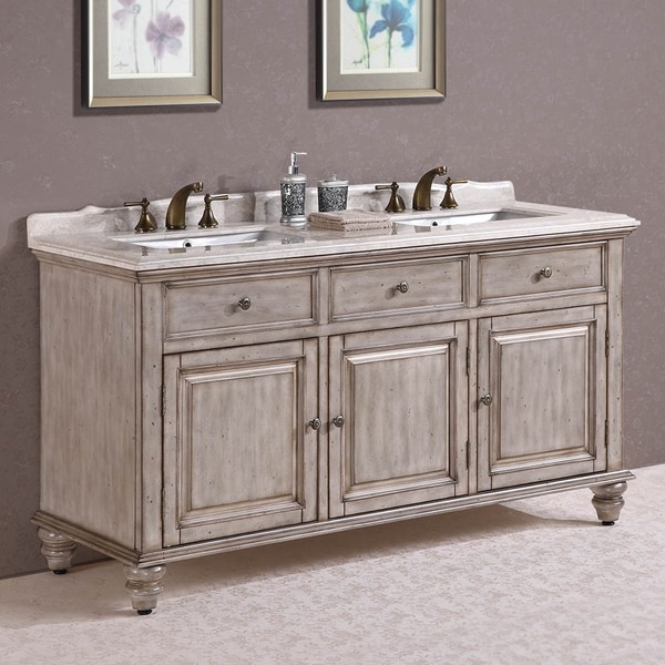 67 Inch Antique White Double Sink Bathroom Vanity With Turned Bun Feet