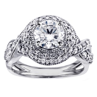 14k White Gold or Platinum 2ct TDW Pave-Set Vintage Diamond Engagement Ring (F-G, SI1-SI2)