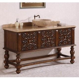Legion Furniture Travertine Top 59 inch Vessel Sink Bathroom Vanity in Walnut Finish with Wood Carvings