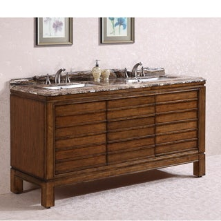 Legion Furniture Marble Top 67 inch Double Sink Bathroom Vanity in Light Walnut Finish