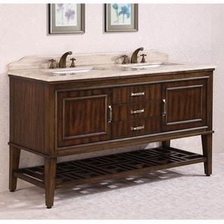 Legion Furniture Travertine Top 65 inch Double Sink Bathroom Vanity in Walnut Finish