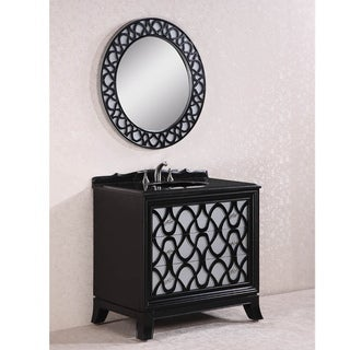 Legion Furniture Absolute Black Granite Top 38 inch Single Sink Bathroom Vanity in Black Finish with Matching Wall Mirror
