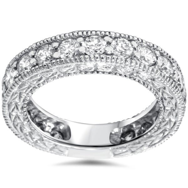 14k White Gold 1 2 5ct TDW Vintage Inspired Diamond Wedding Band I J