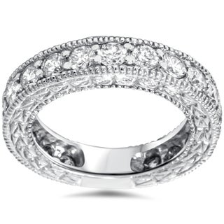 Bliss 14k White Gold 1 2/5ct TDW Vintage-inspired Diamond Wedding Band (H-I, I2-I3)