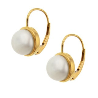 14k White Gold Freshwater Pearl Eurowire Earrings (8 mm)