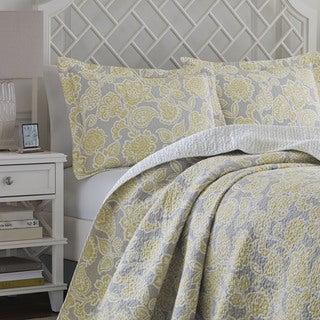 Laura Ashley Joy Grey/Yellow Reversible Cotton Quilt Set
