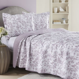 Laura Ashley Amberley Heather Reversible 3-piece Cotton Quilt Set