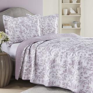 Laura Ashley Amberley Heather Reversible Cotton Quilt Set
