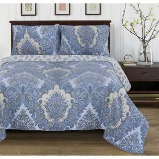 Traditional Paisley Wave 3-piece Cotton Quilt Set