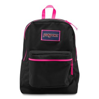 JanSport Overexposed Black/ Fluorescent Pink School Backpack