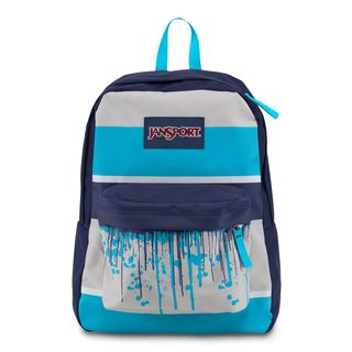 JanSport Mammoth Blue Drip Stripe Super Break School Backpack