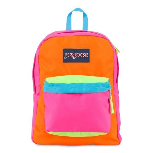 JanSport Fluotescent Pink Orange Team Super Break School Backpack