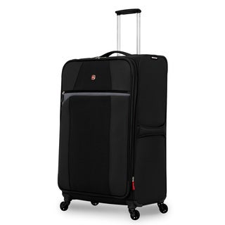 SwissGear 29-inch Black/ Grey Large Lightweight Expandable Spinner Upright Suitcase