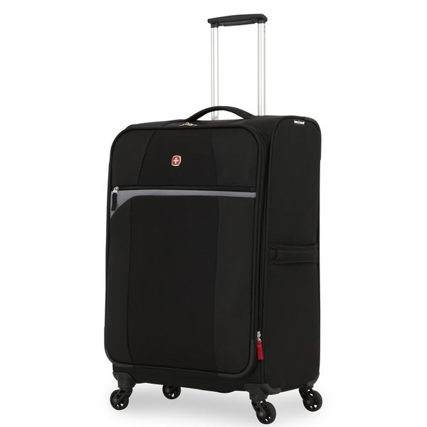 SwissGear 24.5-inch Black/ Grey Medium Lightweight Expandable Spinner Upright Suitcase