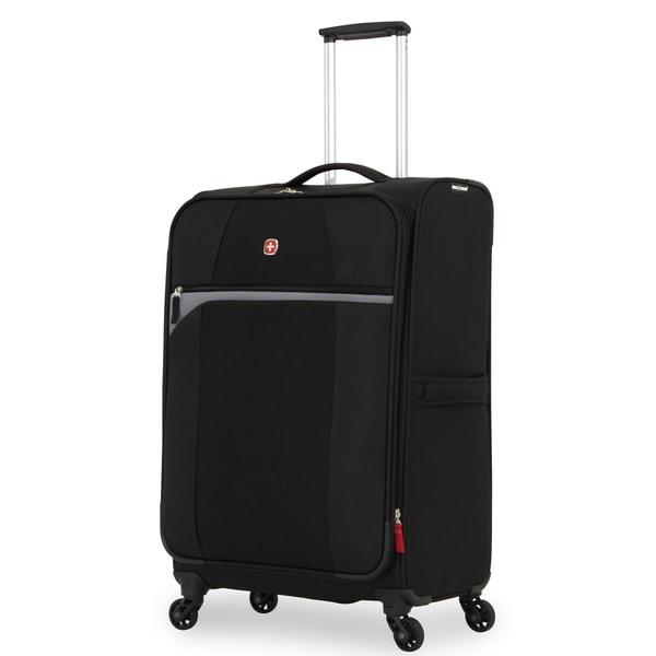 SwissGear 24.5-inch Black/ Grey Medium Lightweight Expandable Spinner Upright Suitcase