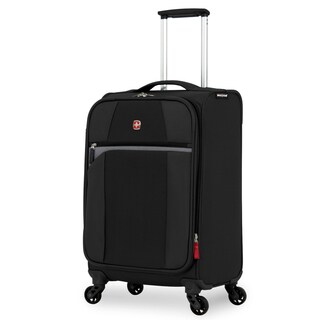 SwissGear 20-inch Grey/ Black Carry On Lightweight Expandable Spinner Upright Suitcase