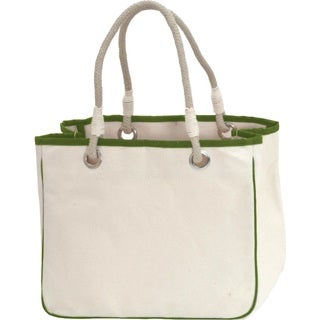 CB Station Solid Rope Tote Bag with Green Trim