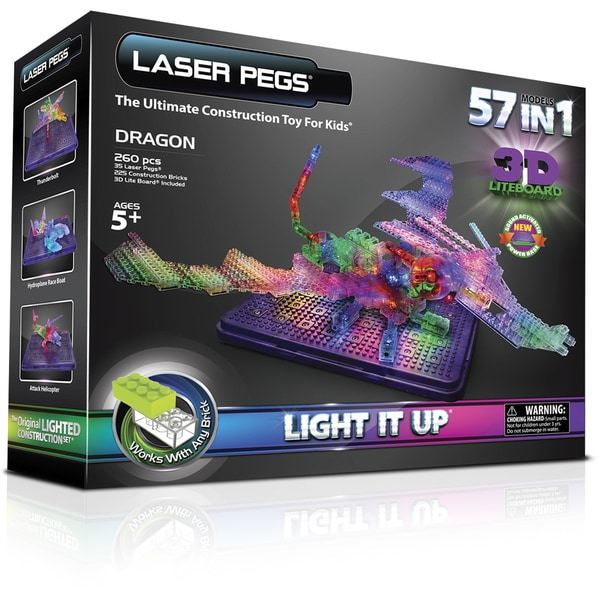 Laser Pegs 57-in-1 Dragon Lighted Construction Toy