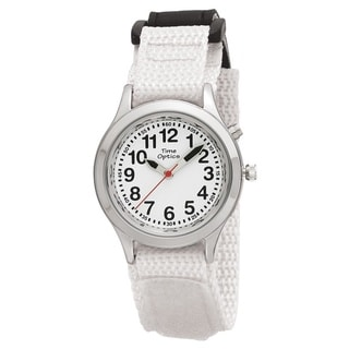 Time Teacher Kids' Talking Time White Adjustable Strap Watch
