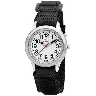 Kids' Talking Time Black Adjustable Strap Watch