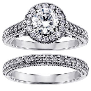 14k White Gold or Platinum 1 2/5ct TDW Diamond Halo Bridal Set (F-G, SI1-SI2)