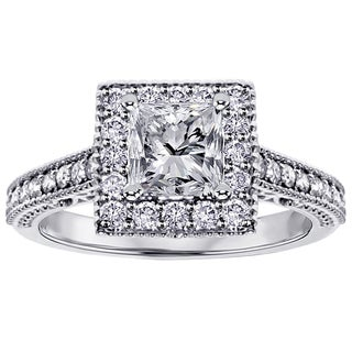 14k White Gold 1 2/5ct TDW Princess-cut Diamond Engagement Ring (F-G, SI1-SI2)