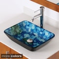 Elite Rectangle Cloud Art Tempered Glass Bathroom Vessel Sink with Faucet Combo