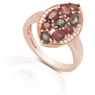 Dolce Giavonna Gold Over Sterling Silver Gemstone and Cubic Zirconia Cocktail Ring