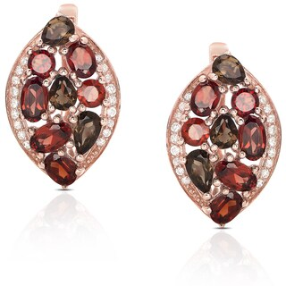 Dolce Giavonna Gold Over Sterling Silver Multi-gemstone Cubic Zirconia Stud Earrings