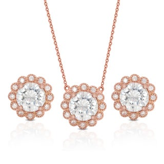 Dolce Giavonna Gold Overlay Cubic Zirconia Necklace and Earrings Set