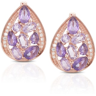 Dolce Giavonna Rose Gold Over Sterling Silver Amethyst and Cubic Zirconia Stud Earrings