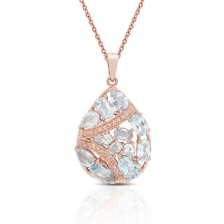 Dolce Giavonna Rose Gold Over Sterling Silver Blue Topaz and Cubic Zirconia Necklace