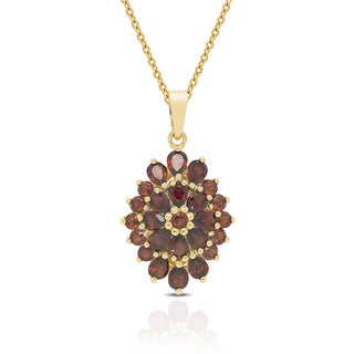 Dolce Giavonna Gold Over Sterling Silver Garnet Necklace with Red Bow Gift Box