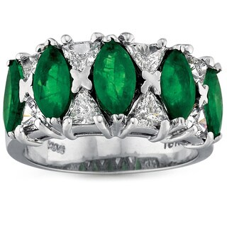18k White Gold 7/8ct TDW Diamond and Emerald Gemstone Ring (G-H, SI1-SI2)
