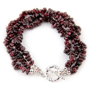 7-inch Sterling Silver Three-strand Garnet Chip Bracelet