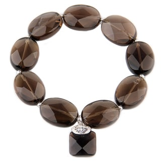 6-inch Sterling Silver and Smoky Quartz Gemstone Bracelet