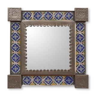 Handcrafted Tin Ceramic 'Mexican Bluebells' Wall Mirror , Handmade in Mexico