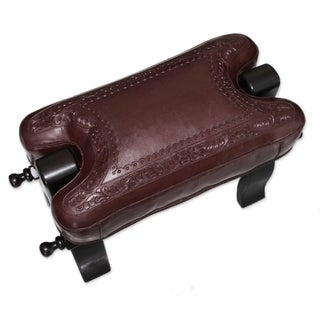 Handcrafted Mohena Wood Leather 'Colonial Wreath' Stool (Peru)