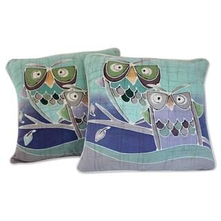 Set of 2 Cotton 'Mischievous Owls' Batik Cushion Covers (Thailand)