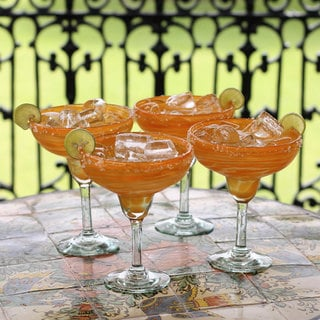 Set of 4 Blown Glass 'Butterscotch Swirl' Margarita Glasses (Mexico)