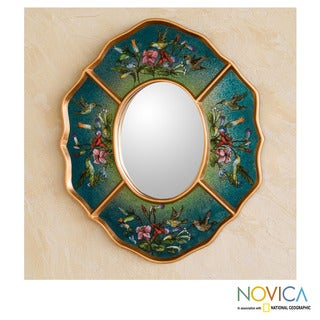 Reverse Painted Glass 'Turquoise Hummingbirds' Mirror (Peru)