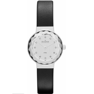 Skagen Women's SKW2005 'Classic' Stainless Steel and Leather Crystal Watch