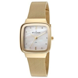 Skagen Women's 658SGG 'Steel' Gold Ion-plated Stainless Crystal Watch