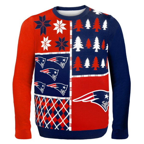 New England Patriots Busy Block Ugly Sweater