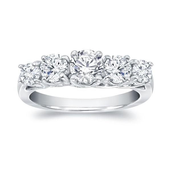 Auriya 14k Gold 1 1/2ct TDW 5-stone Round Diamond Anniversary Ring 14055415