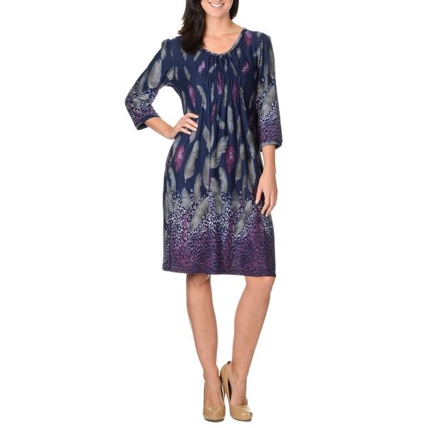 La Cera Women's Navy Leaf Print Dress